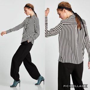 NWT Zara Striped Blouse with Shoulder Pads Size M